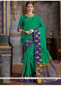 Chic Green Woven Work Traditional Saree
