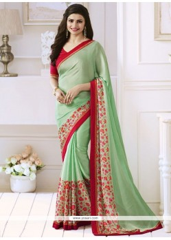 Prachi Desai Green Print Work Casual Saree