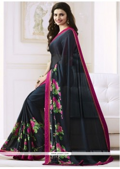 Prachi Desai Print Work Black Casual Saree
