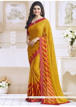 Prachi Desai Print Work Yellow Casual Saree