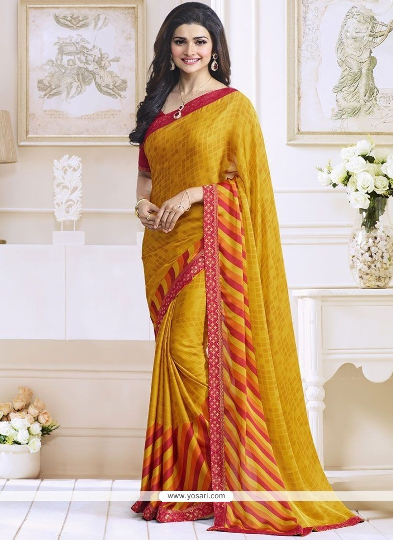 Prachi Desai Print Work Yellow Casual Saree