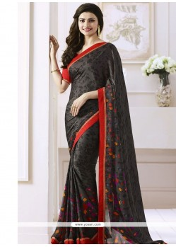 Prachi Desai Black Print Work Casual Saree