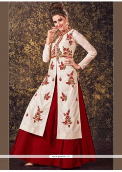 Elegant Off White Zari Work Tafeta Silk Long Choli Lehenga
