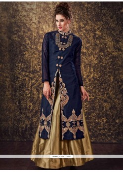 Mod Navy Blue Long Choli Lehenga