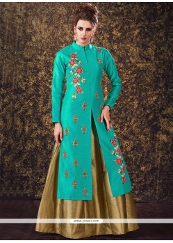 Intricate Sea Green Tafeta Silk Long Choli Lehenga