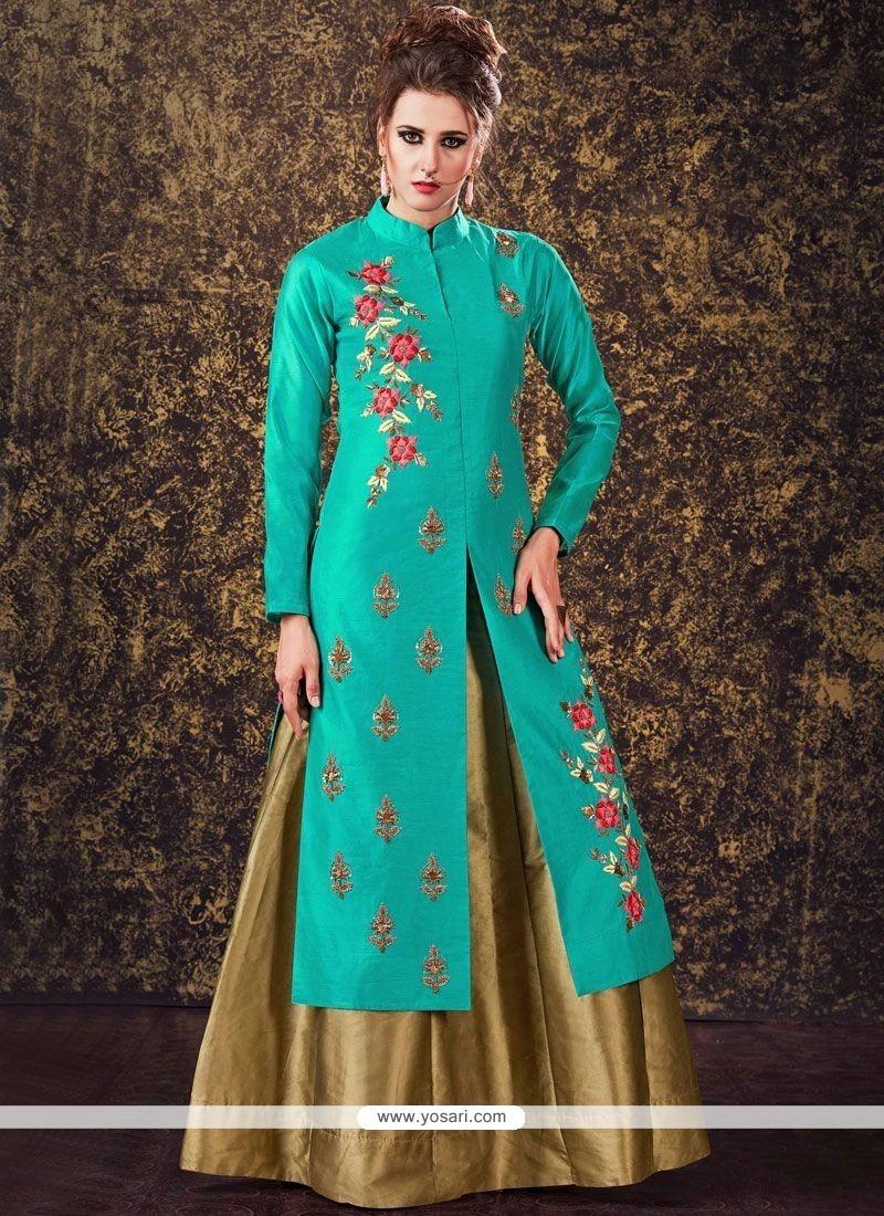 Intricate Sea Green Tafeta Silk Long Choli Lehenga
