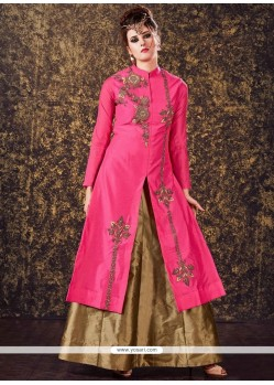 Embroidered Tafeta Silk Long Choli Lehenga In Pink