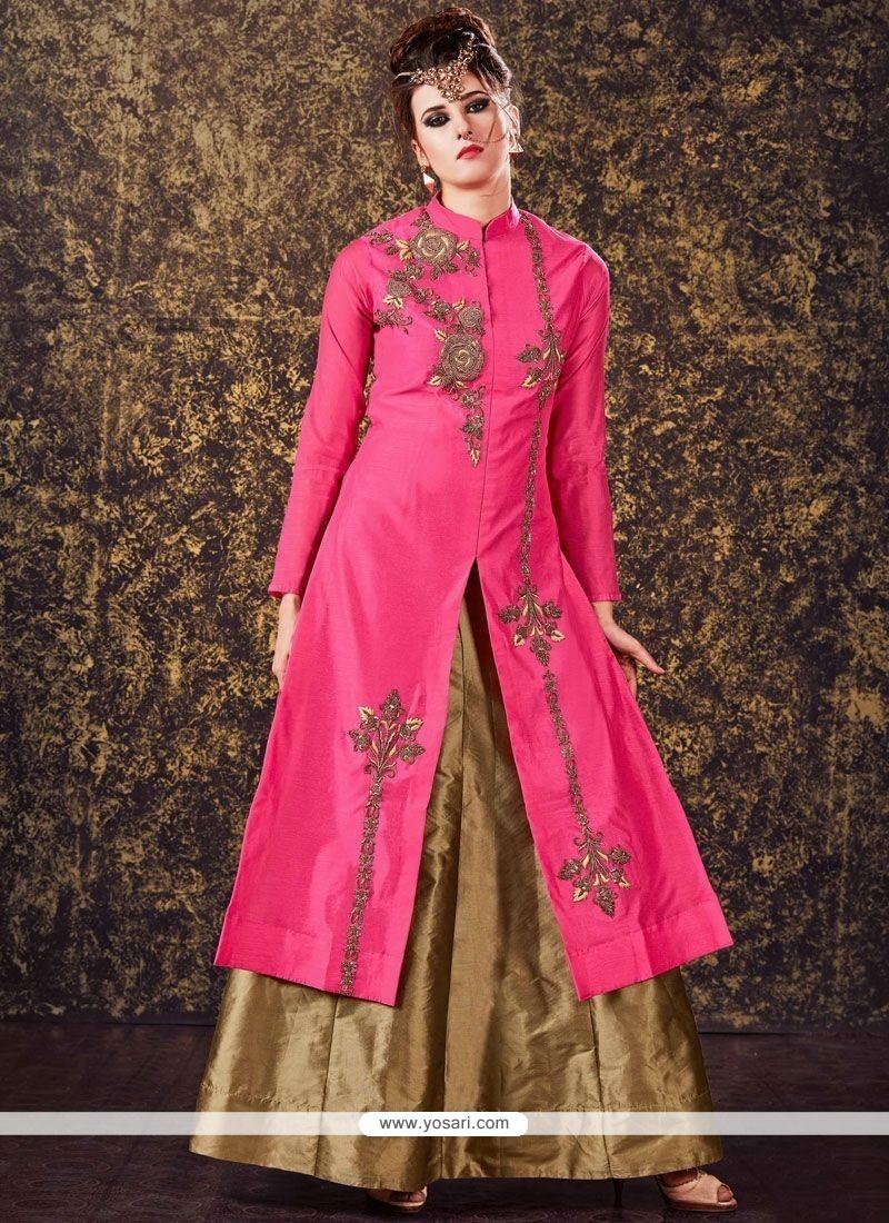 Embroidered Tafeta Silk Long Choli Lehenga In Pink