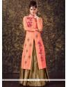Imposing Peach Embroidered Work Art Silk Long Choli Lehenga
