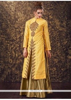 Modest Yellow Art Silk Long Choli Lehenga