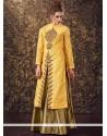Modest Yellow Art Silk Long Choli Lehenga