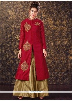 Sensible Maroon Embroidered Work Art Silk Long Choli Lehenga