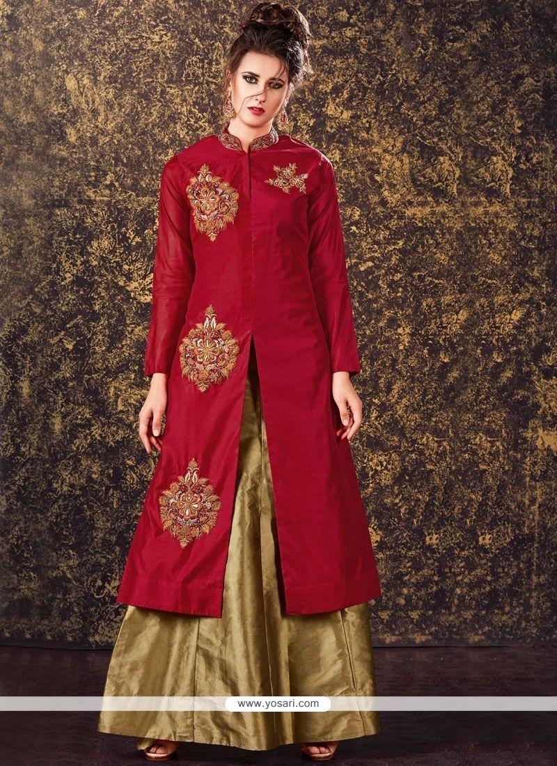 Sensible Maroon Embroidered Work Art Silk Long Choli Lehenga