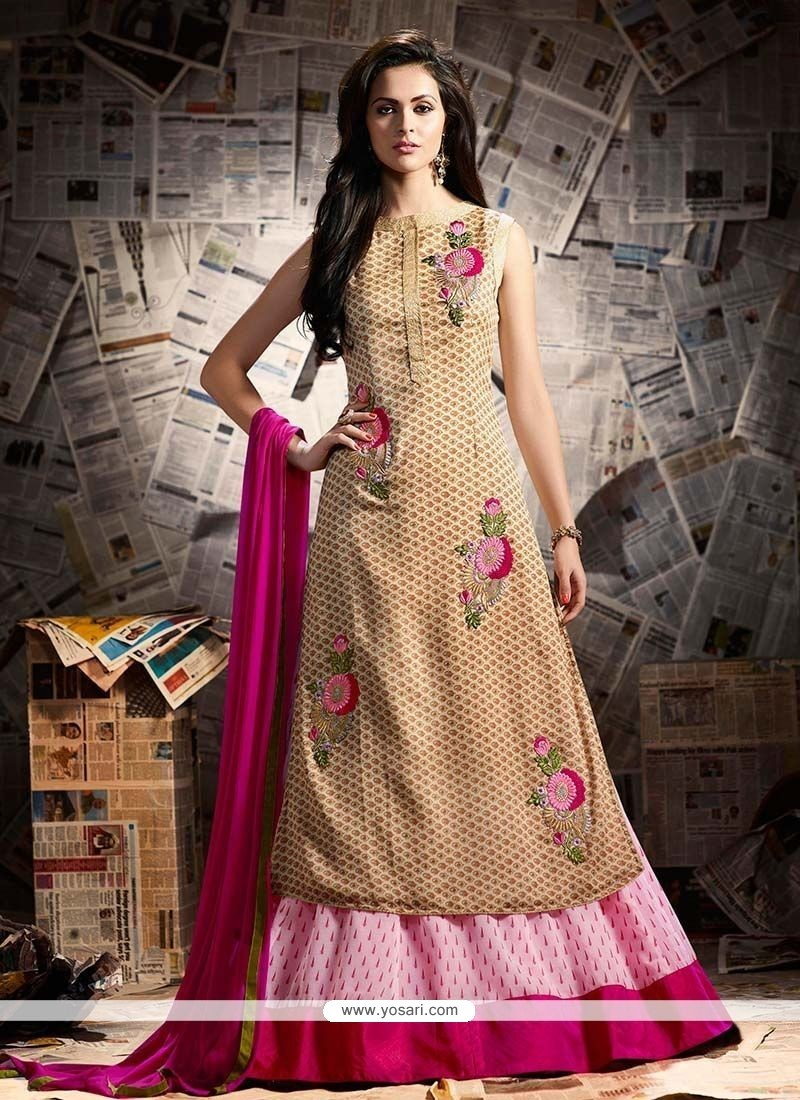 Resham Faux Georgette Long Choli Lehenga In Beige And Pink