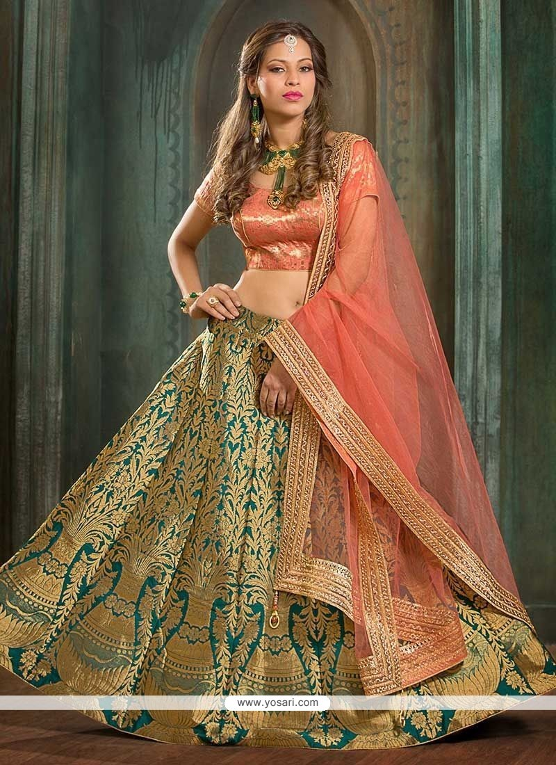 Fashionable Jacquard Silk Floral Patterns Work Lehenga Choli