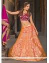 Invigorating Jacquard Silk Peach And Orange Floral Patterns Work Lehenga Choli