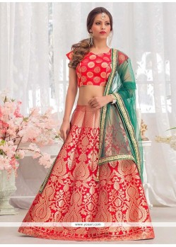 Precious Red Floral Patterns Work Jacquard Silk Lehenga Choli
