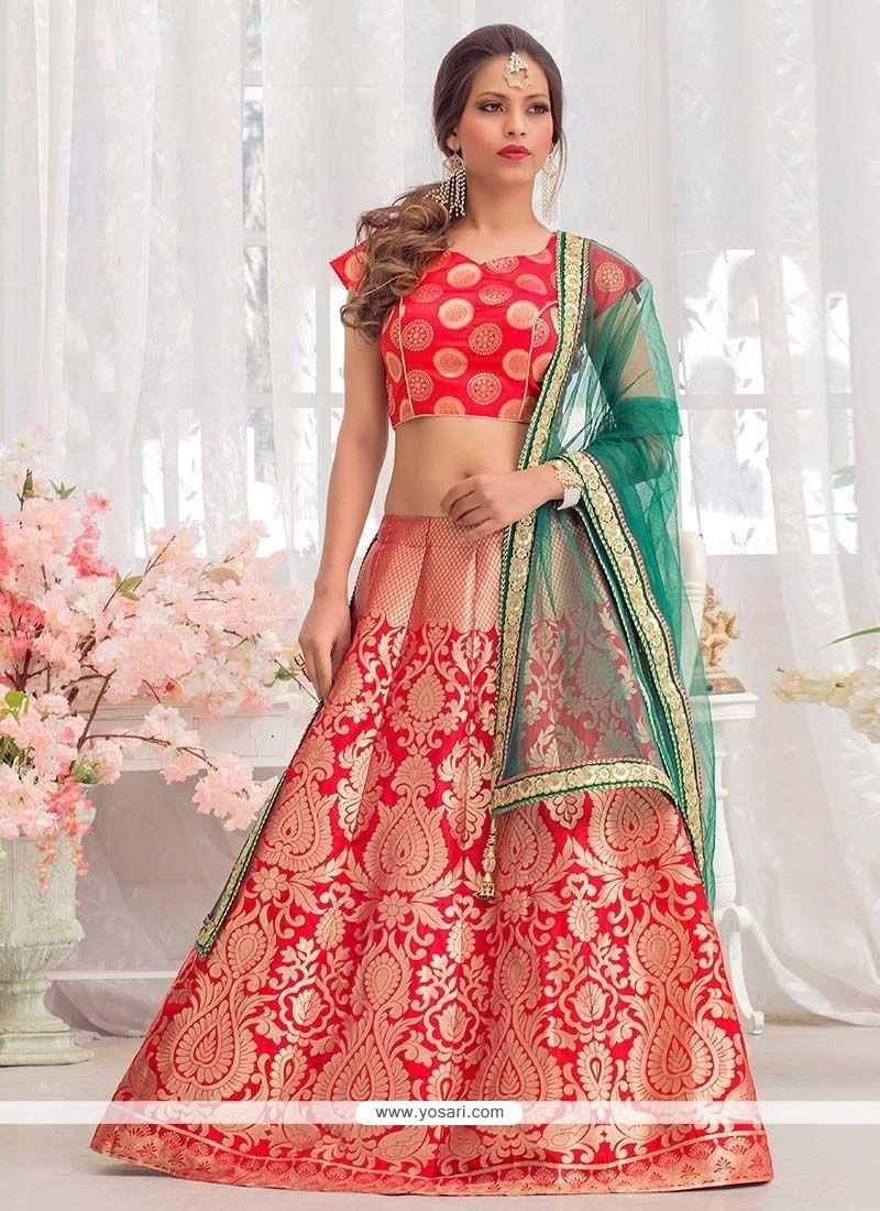 Precious Red Floral Patterns Work Jacquard Silk Lehenga Choli