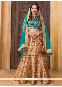 Spellbinding Jacquard Silk Floral Patterns Work Lehenga Choli