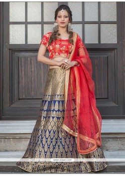 Renowned Jacquard Silk Floral Patterns Work Lehenga Choli