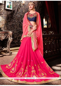 Epitome Embroidered Work Rose Pink Faux Georgette Half N Half Designer Saree