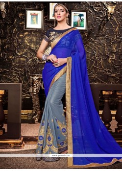 Incredible Faux Georgette Blue And Grey Half N Half Saree