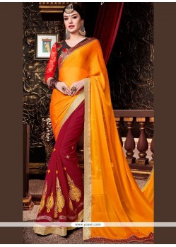 Fascinating Faux Georgette Red And Yellow Half N Half Designer Saree