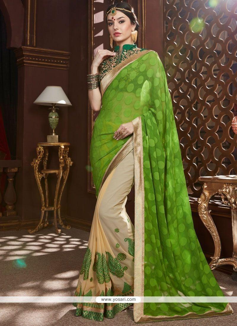 Stupendous Cream And Green Half N Half Designer Saree