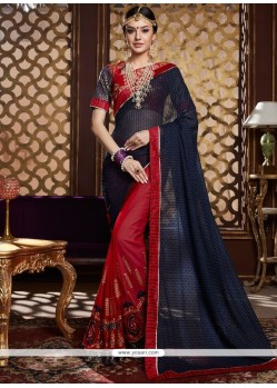 Fantastic Lycra Navy Blue And Red Half N Half Saree