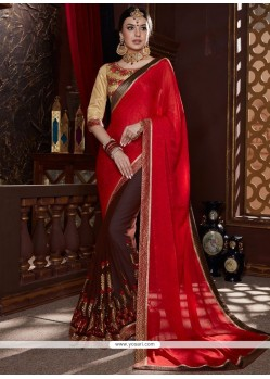 Lively Jacquard Brown And Red Designer Half N Half Saree