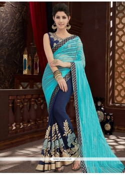 Blue And Navy Blue Embroidered Work Net Designer Half N Half Saree