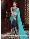 Blue And Navy Blue Embroidered Work Net Designer Half N Half Saree
