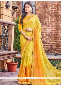 Captivating Brasso Yellow Classic Saree