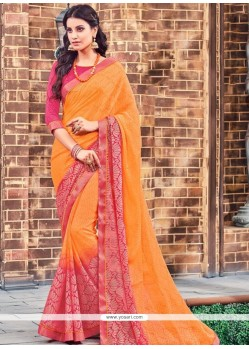 Mesmeric Hot Pink And Orange Brasso Classic Saree