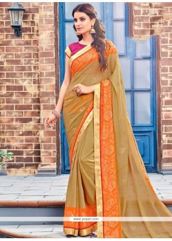 Preferable Brasso Brown Lace Work Designer Saree