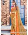 Preferable Brasso Brown Lace Work Designer Saree
