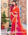 Titillating Brasso Lace Work Shaded Saree