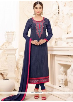 Krystle Dsouza Navy Blue Embroidered Work Churidar Suit