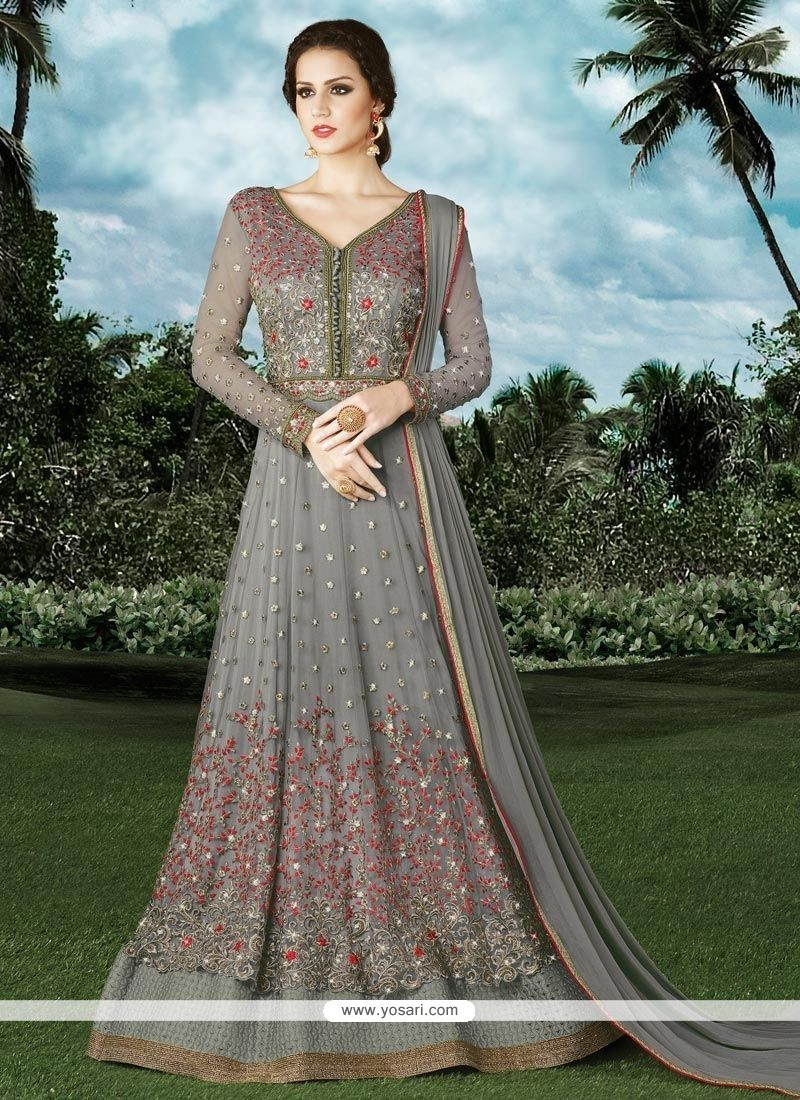 Resplendent Grey Floor Length Anarkali Suit