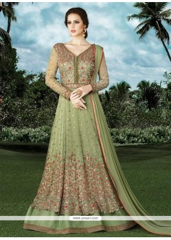 Congenial Green Net Floor Length Anarkali Suit