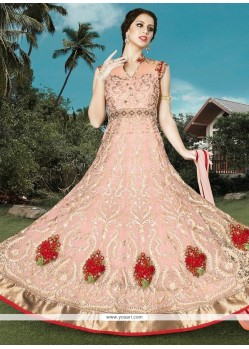 Refreshing Resham Work Pink Net Floor Length Anarkali Suit