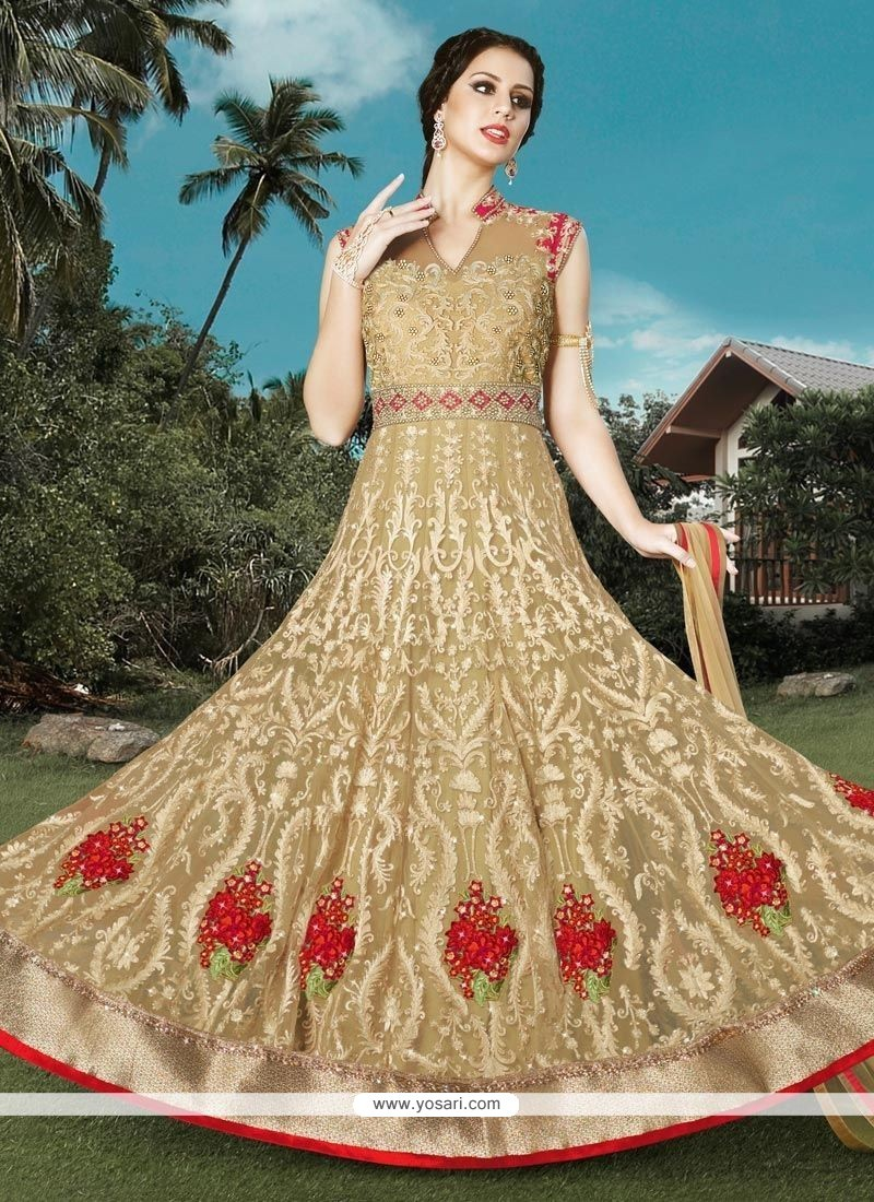 Incredible Beige Floor Length Anarkali Suit