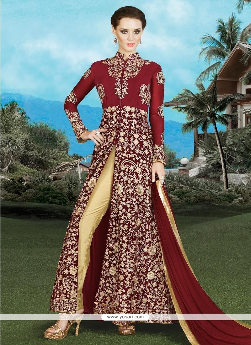 Exciting Maroon Embroidered Work Faux Georgette Designer Suit