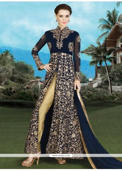 Suave Navy Blue Faux Georgette Designer Suit