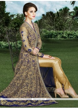 Versatile Beige And Blue Designer Suit
