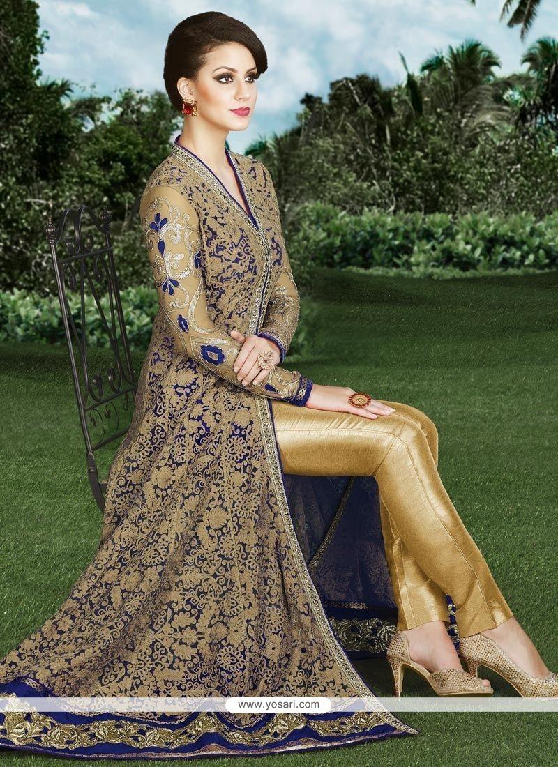 Versatile Beige And Blue Designer Suit