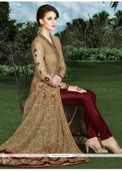 Demure Lace Work Beige And Maroon Art Silk Designer Suit