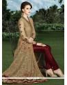 Demure Lace Work Beige And Maroon Art Silk Designer Suit
