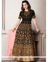Prodigious Patch Border Work Black Floor Length Anarkali Suit