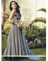 Resham Cotton Readymade Anarkali Salwar Suit In Grey